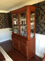 *QUALITY BUILT* cherry wood and glass credenza