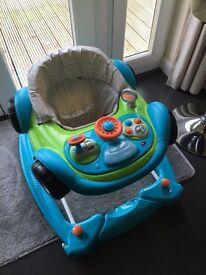 Blue car baby walker - like new