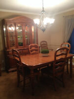 Solid Oak Hutch Table and Chairs