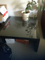 Perfect condition glass top dark brown coffee table