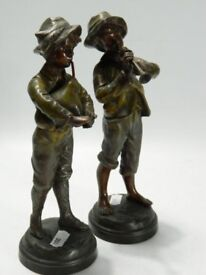 Pair of vintage Kessler painted pewter figurines 'Bag piper' and 'Piper boy' H: 22cm approx