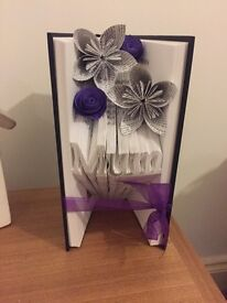"""Folded """"Mum"""" book art with paper flowers (wrapped)"""