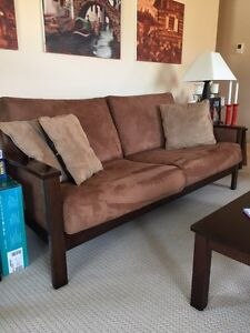 Matching suede couch, loveseat and arm chair
