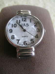 "ATTRACTIVE SILVERTONE ""JAS"" BATTERY-OP. WATCH...[WORKS]"