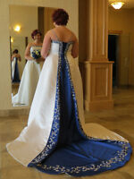 White A-line Wedding dress with royal blue accents and train