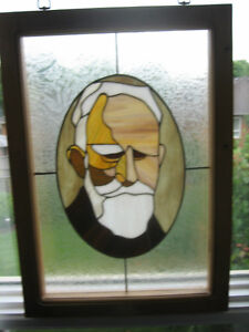 George Bernard Shaw portrait in Stained glass