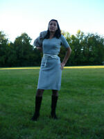 Soft gray wool and silver Lurex knitted dress
