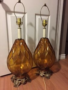 Vintage amber glass lamps