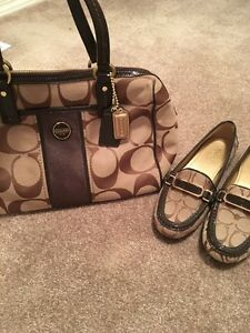 Coach - brown and beige matching purse and shoes