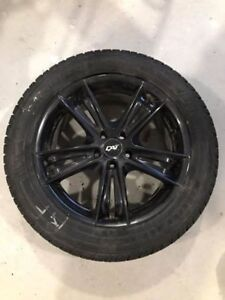 "Set of four 18"" black alloy rims with studded winter"