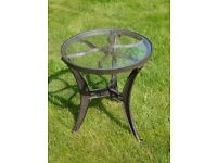 Industrial Vintage Style Glass Top Cast Metal Side Table- NEW