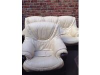 Cream leather sofa and chair free delivery