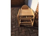 Wooden high chair/table and chair