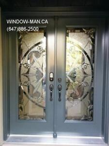 Entrance Stained Entry Door Glass  many styles