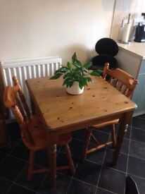 Lovely Square Pine table and chairs