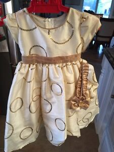 Size 12 months dress new with tags gold and ivory