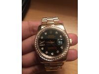 Amazing quality rose gold and black diamante rolex datejust watch