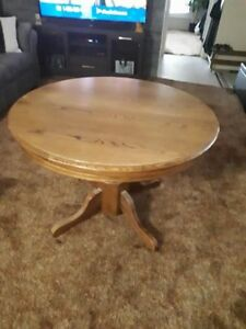OAK TABLE & CHAIRS WITH LEAF