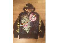 2 brand new Christian Audigier men's luxury designer hoodies, decorated with rhinestones