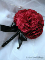 Deep Cranberry/Red Coffee Filter Bridal Bouquet/ Wedding Flowers