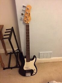 stagg bass guitar black and white