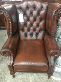 Brown Chesterfield Leather Wing Chair - UK Delivery