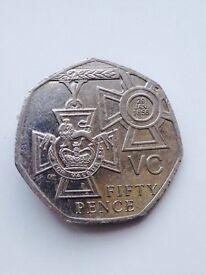 50p coin Victoria cross 2006 .