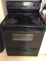 Black working electric stove