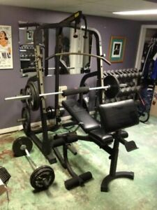 Nautilus Power Rack Lat Tower Bench Weights Bar Home Gym + MORE