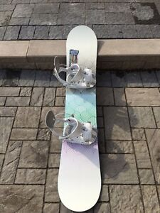 FLOW snowboard and step in bindings like new
