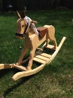 Hand crafted wood rocking horse