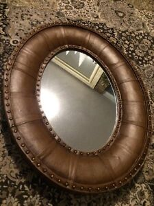 Leather and brass studded mirror