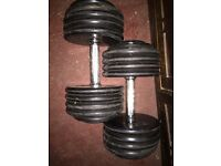 Cast Iron Dumbbell's. 2x 25kg. 2x27.5kg
