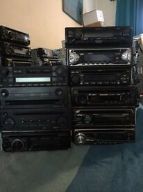 Pile of 10 cd players include sony bluetooth , sony dab