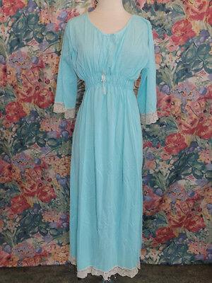 Amazing Vtg 1960s AQUA BLUE Silky Nylon PEASANT DRESS NIGHTGOWN 38 Maxi Medieval - Medieval Nightgown