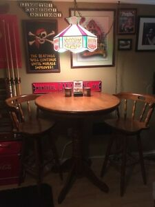 Solid wood bar height table set