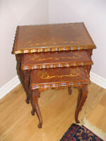 3 piece antique stackable tables with glass tops