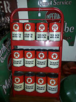 1940's Texaco Motor Oil Cans with Original Rack