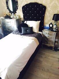 Chenille single storage bed