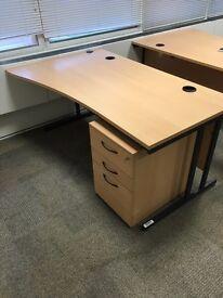 Super clearance 15 x beech office desks with pedestals @ just £45 each