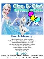 Frozen Elsa and Olaf Live Birthday Parties Party Entertainment