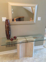 Marble Console Table with Glass top and Mirror BO
