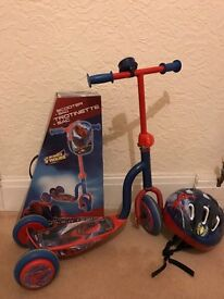 3 wheeled Spider-man scooter with bell & helmet