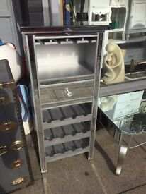 Mirrored Wine Rack & Glass Holder Unit