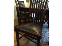 Traditional hardwood dining table seats 8 and 8 high backed chairs