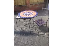Mosaic Bistro Table with two matching Chairs