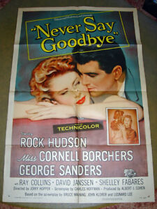 RARE 1956 ROCK HUDSON LOVE STORY ROMANCE MOVIE THEATRE POSTER