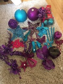 Purple pink blue Christmas decorations