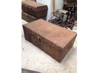 Vintage industrial metal storage box/ chest/ trunk