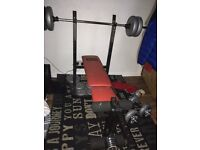 Weight bench and weights with dumbbells